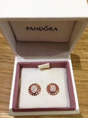 Pandora Signature 14ct Rose Gold Plated Stud Earrings Brand New In Box