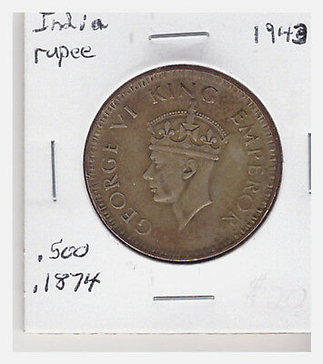 BRITISH INDIA GEORGE VI KING 1 RUPEE SILVER COIN 1943 - Bombay Mint