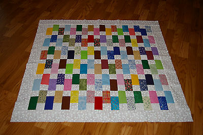 Scrappy Squares and Rectangles Colorful Baby Quilt Top