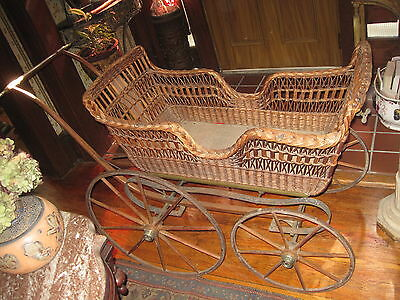 """Antique  Baby/Doll Carriage Victorian Wicker Signed """"Kensington"""" Pat'd. 1875"""