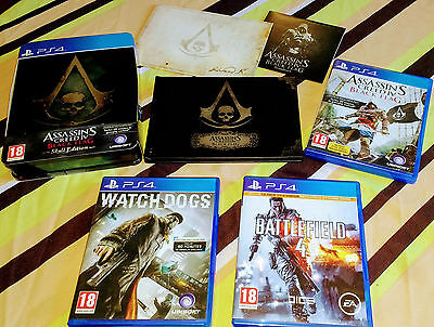 Jeux PS4 - Assassin's Creed 4 Edition collector - Watch Dogs - Battlefield 4