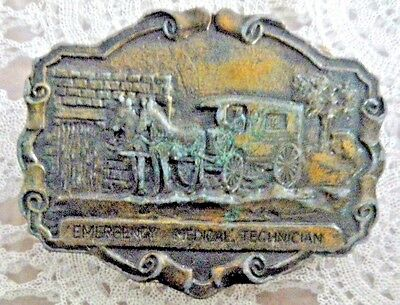 Emergency Medical Technician Brass BELT BUCKLE Old Horse-Drawn Carriage vintage