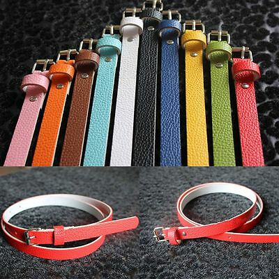 Buckle Skinny Faux Leather Women Accessories 8 Candy Colors Waist Belt Thin