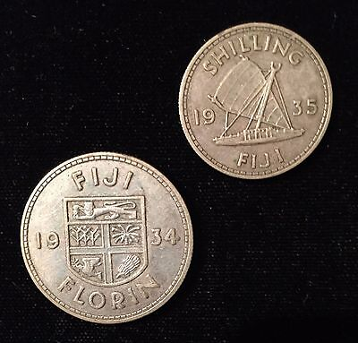Fiji 1935 Shilling & 1934 Florin (#758) Both Silver and XF. Carefully Check out