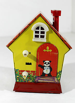 """Red China Mm 107 """"pand House Coin Bank"""" Battery Op. Vtg,me,shanghai,mf,ms"""