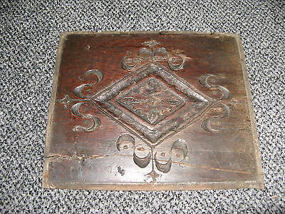 18th century antique,english deeply carved wooden oak panel,from coffer chest