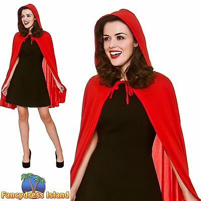 RED SHORT CAPE WITH HOOD FAIRYTALE SUPERHERO Adults Ladies Fancy Dress Accessory