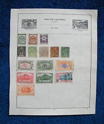 Early Album Page with French Colony Reunion Stamps. France.