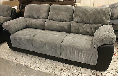 THREE SEATER & TWO STR RECLINER SOFA SUITE - SILVER GREY JUMBO CORD - NEW 2nds