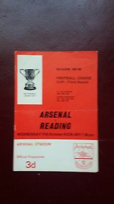 Arsenal V Reading League Cup Third Round 1967/68