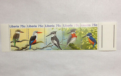 Liberia very nice strip of 5 MNH stamps good gutters featuring birds.