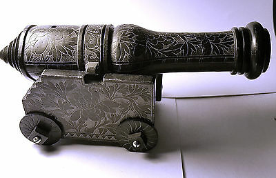 Antique Chinese Carved Soapstone Desktop Cannon