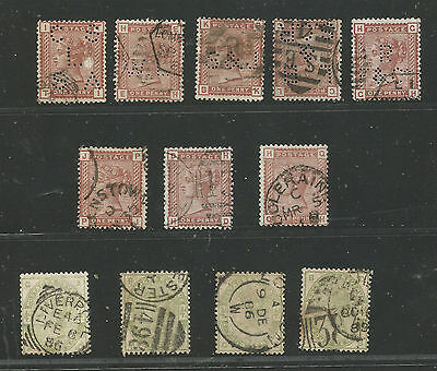 U.K 1880/1 one penny: 8 vall us (5 perfor,) & 1883/4: 4 penny 4 vall us (€ 400+)