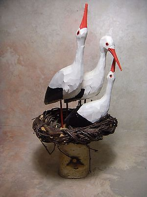 Hand Carved Wood and Painted Baby Storks, Pelicans, Birds Figurine 10.5 TALL