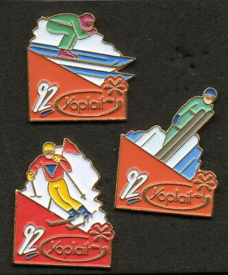 Lot 3 Pins Yoplait Hiver Montagne Ski 1992 Collection
