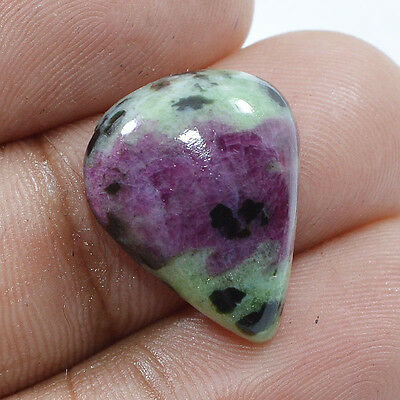 11.40 Ct.100% NATURAL RED IN GREEN RUBY ZOISITE PEAR SHAPE CABOCHON AAA GEMSTONE