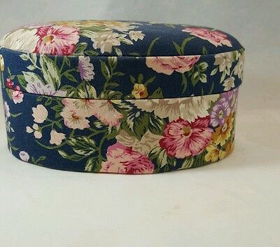 Vintage Fabric Covered Floral Oval Trinket Jewelry Box Padded Lid