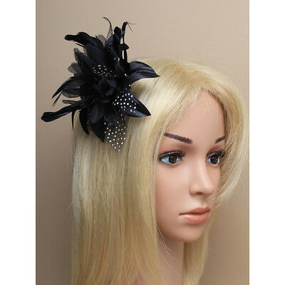 Black Fascinator on Headband/ Clip-in for Weddings, Races and Occasions-7908