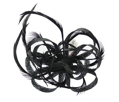 Black Fascinator on Headband/ Clip-in for Weddings, Races and Occasions-5904