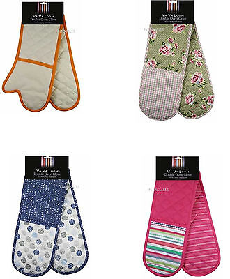 "Va Va Loom"" Floral Rose Design 100% Cotton Twill Double Oven Gloves"