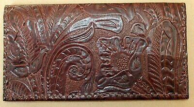 Chocolate Western Floral Cowhide  Leather Checkbook Cover Free Shipping