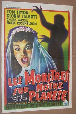 I MARRIED A MONSTER FROM OUTER SPACE Rare Belgian 14x22