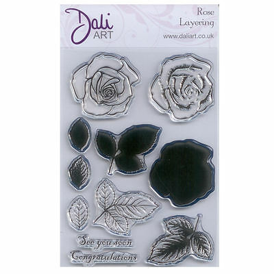 Dali Art A6 Clear Rubber Stamp - Rose Layering