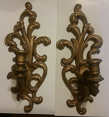 Set of Gold Hollywood Regency Resin Wall Candle Holder Sconce