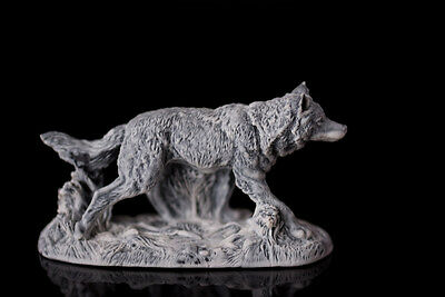 Marble chips wolf statue Russian stone art miniature realistic animal figurine