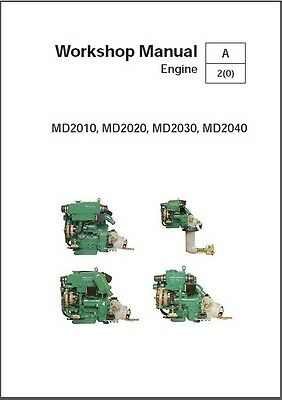 Volvo Penta MD2010 MD2020 MD2030 MD2040 Marine Engines Service Manual on a CD