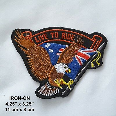 """"""" Live to Ride"""" Eagle Embroidered Wings Iron-on Biker Patch Flag Babe Applique"""