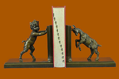 Hot Cast Satyr and Goat Erotic Mythical Bookends Book Ends Bronze Sculpture DB