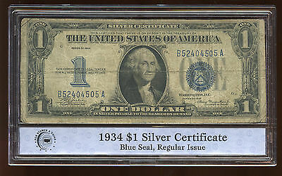 $1 Dollar Silver Certificate 1934 Blue Seal Small Size Currency Note AA0252