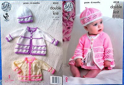 Babys Double Knit Lacy Cardigan Jacket Hat Knitting Pattern 12 - 16 Inch