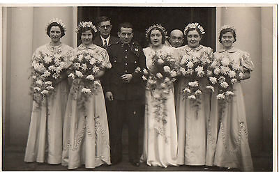 """""""Soldier (Royal Signals) & Wife Wedding""""1940's Photograph Postcard"""