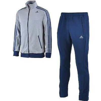 [S22115] Men's Adidas Tracksuit Interlock Climalite Top/bottom Blue Grey S-Xl