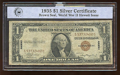 $1 Dollar Silver Certificate Hawaii WW II 1935 A Small Size Currency Note AA0254