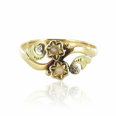 Bague ancienne or jaune perles fines Ring