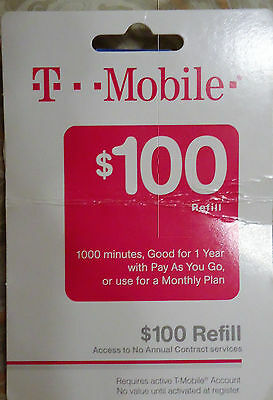 T-Mobile $100 REFILL Card Credit applied DIRECTLY to PHONE Prepaid