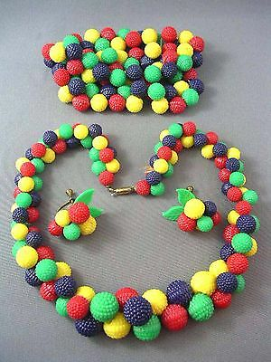 Vintage 1940s Colorful CELLULOID Berry Fruit Salad Parure Vibrant RAINBOW Colors