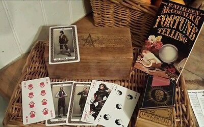 Vintage DISHONORED tarot cards with pentagram card wooden box and magical book