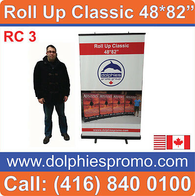 """48"""" WIDE PRO Black Base Roll Pop Up Booth Banner Stand Portable Display Tabletop"""