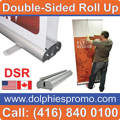 DOUBLE-SIDED Retractable Stand Banner Graphic Portable Tradeshow Display Exhibit