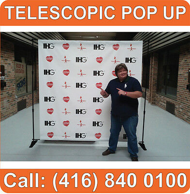 2 UNITS Trade Show TELESCOPIC Pop Up Booth Banner Stand Backdrop Back Press Wall