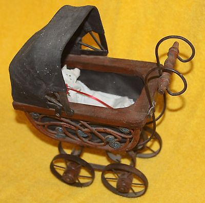 Small Vintage Decorator Victorian Doll Buggy Carrier Wicker Reed Wood Metal