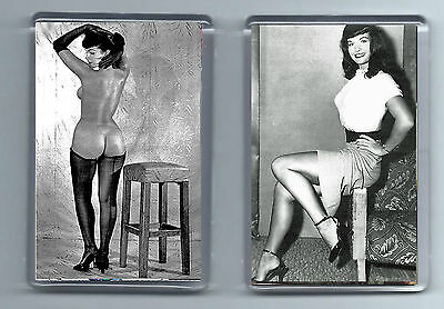 Magnets x 2 : BETTIE PAGE cheesecake  pin-up rockabilly 50's psychobilly