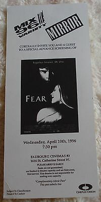 FEAR (rare vintage movie premiere screening pass) near mint condition