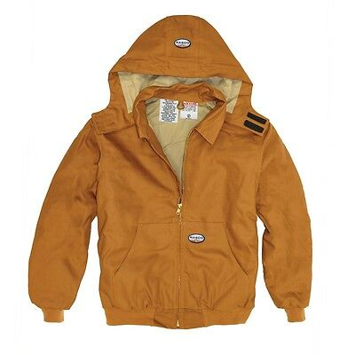 Rasco Fire Resistant Brown Duck Quilted Hooded Jacket BJFQ2206