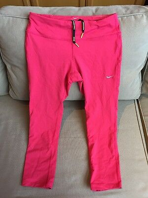 NIKE Running Women's DRI-FIT Leggings Size M Fitness solid pink, awesome!