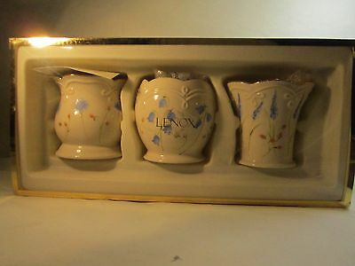 """Lenox 3 Floral Votive Candle Holders White & Gold w Purple & Pink Flowers 3x3"""""""